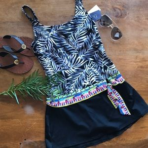 b955f99f743d4 ... One Piece Swimsuit Open Back. $17 $0. JAG Tropical Palm Tie Waist  Swimdress Skirt